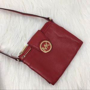 Michael Kors red leather crossbody handbad